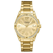 Caravelle By Bulova Womens Stainless Steel Watch, Gold Dial, Glitz Crystals