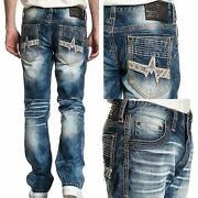 Affliction Menand039s Denim Jeans Ace Apex Pagoda Blue Embroidered 119 Nwt