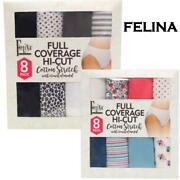 New Open Womens Felina Cotton Stretch Full Coverage Hi-cut Panty 8 Pair Variety