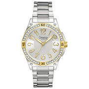 Caravelle By Bulova Womens Stainless Steel Watch, Two-tone Silver Gold, Crystals