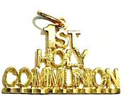 14k Yellow Gold First Holy Communion Charm Pendant