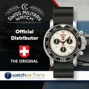 Cx Swiss Military Navy Diver 200 Chrono Watch 20atm Silv Dial Rubber Strap