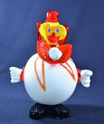 Murano Glass Clown Hollow Belly Figurine - White And Red W/ Blue Shoes - Vintage