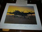 Lincolnshire Sunset 1944 By Gerald Coulson Signed By 15 Bomber Command Aces