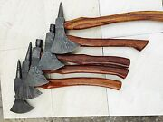 Custom Hand Made Damascus Blade Axe.35.with Rose Wood Handellot Of 5with Cover