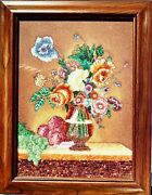 Vintage Gem Stone Painting Vase And Flowers Handmade Collectible Wall Decor