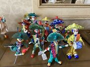 Vintage Mexican Day Of The Dead Paper Mache Clowns