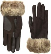 Isotoner Women's Boiled Wool Smartouch Gloves With Faux Fur Small/ Medium Brown