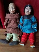 Pair Of Antique Vintage Chinese Dolls Couple Ma And Pop