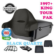 Black Quartz King Tour Pack Trunk Black Hinges And Latch For 97-20 Harley Touring