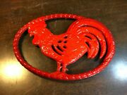 Vintage Le Chasseur France Red Enamel Rooster Cast Iron Trivet French Country