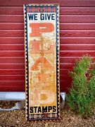 Vintage Original 60s Plaid Stamps Country Store Gas Station Sign 60 X 18