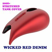 Wicked Red Denim Stretched Tank Cover For Harley 2008-20 Street Glide Road Glide