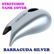 Barracuda Silver Stretched Tank Cover For Harley 2008-20 Street Road Glide