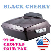 Black Cherry Chopped Tour Pack Luggage Trunk For 97-20 Harley Street Road Glide