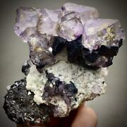 238g Very Rare Purple Octahedral Fluorite And Calcite And Arsenopyrite And Lievrite