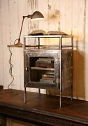 Antique Medical Cabinet Industrial Table Apothecary Glass Door Dental Steel Tray