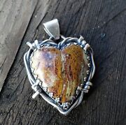 Unique Handmade Agatized Palm Root Heart Pendant..set In Sterling Silver