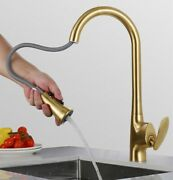 Kitchen Faucet Pull Out Kitchen Tap Single Handle Brushed Gold Water Mixer Taps