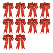 30x10 Pcs Glitter Christmas Tree Bow Ribbon Bows, Long 10 Inches And Wide 8