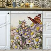 Kitchen Dishwasher Magnet Cover - Victorian Vintage Flower Fairy And Butterfly