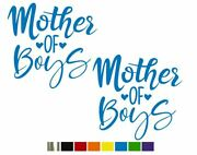 2 Mother Of Boys Cute Vinyl Decals - Custom Size Color For Cars,trucks