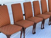 8 Baker Furniture Stately Homes Queen Anne Carved Walnut Dining Chairs A+ Cond.