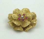 And Co. 1950s Estate 18k Yellow Gold Ruby Diamond Floral Brooch Pin