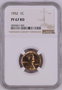 1952 Proof Lincoln Wheat Cent Penny 1c Ngc Pf67, Pr67 Rd