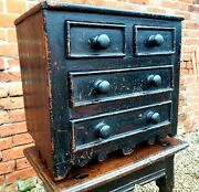 Late 18thc /early 19thc Welsh Antique Miniature Chest Of Drawers Original Paint