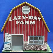 Vintage Marx Lazy Day Farm Tin Barn Used Cow Milking Machine Bright Color Only