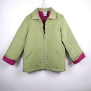 The Quaker Factory Silk Quilted Rhinestone Jacket Green/pink Size Xs