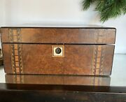 Antique English Writing Slope Lap Desk Box Intricate Exquisite Inlay Mop And Wood