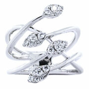 14k White Gold Wire Crisscross Marquise Cluster Diamond Wide Ring Sz 6.5
