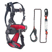 Insulated Fall Arrest Safety Full Body Harness With Energy Absorber 6' Lanyard
