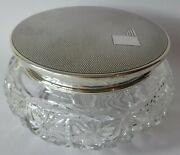 Large Art Deco 1939 Silver And Glass Powder / Jewel Jar And Cover 4.5 / 11.5cm Wide