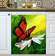 Kitchen Dishwasher Magnet - Red Butterfly And White Daisy