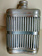 Chrome Plated Caged Whiskey Flask Glass Bottle W/ Screw Off Cork Prohibition Era