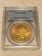 1872-s Au58 Pcgs 20 Liberty Double Eagle Gold Coin Great Appeal Pq Almost Ms