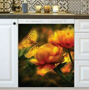Kitchen Dishwasher Magnet - Beautiful Yellow Butterfly And Roses