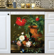 Kitchen Dishwasher Magnet - Garden Flowers With A Nest And Butterfly