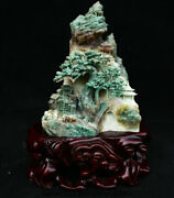 11.2 Natural Dushan Jade Carved Tree House Old Man Bull Mountain Water Statue