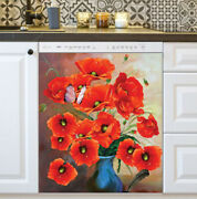 Kitchen Dishwasher Magnet - Beautiful Poppies And Butterfly