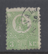 Hungary 1871 3k .green Lithographic Issue Used Sg 3 Scott 2 Light Green