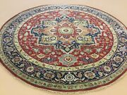 7' X 7' Red Navy Blue Round Geometric Medallion Hand Knotted Oriental Area Rug