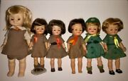Lot Of Vintage 1965 1966 8 And 11 Girl Scout And Brownie Fluffy Dolls Sleep Eyes