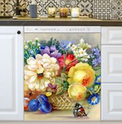 Kitchen Dishwasher Magnet - Flowers, Fruit And A Butterfly