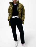 Zara Puffer Coat With Patch Pockets Oil Green New Fw20 Sizes S M L Ref. 3046/229