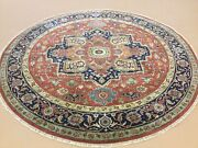 7' X 7' Rust Navy Blue Round Geometric Medallion Hand Knotted Wool Oriental Rug