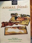 Vintage Optimago Jr. Animal Friends Wooden Puzzles Rabbits And Hares 15 Pcs. New